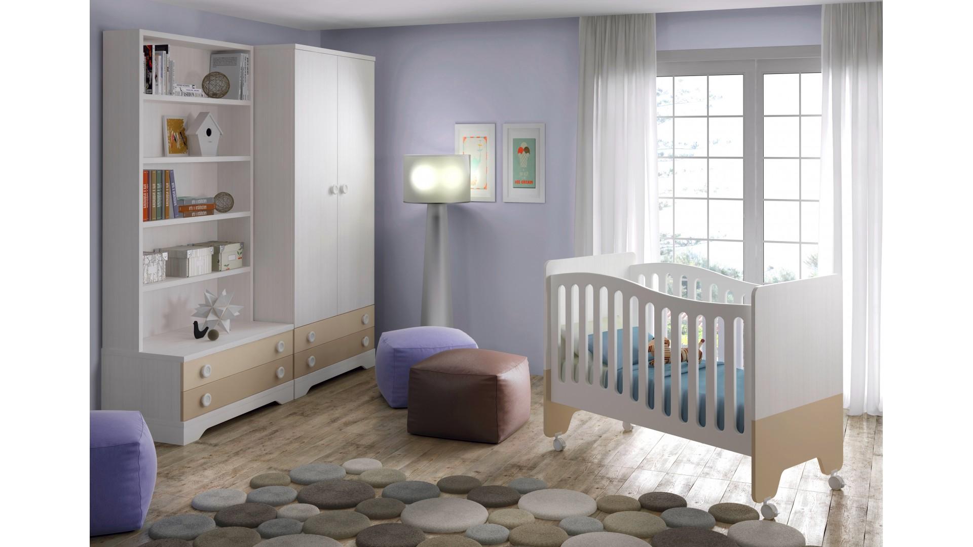 chambre bebe design bicouleur avec lit et armoire glicerio