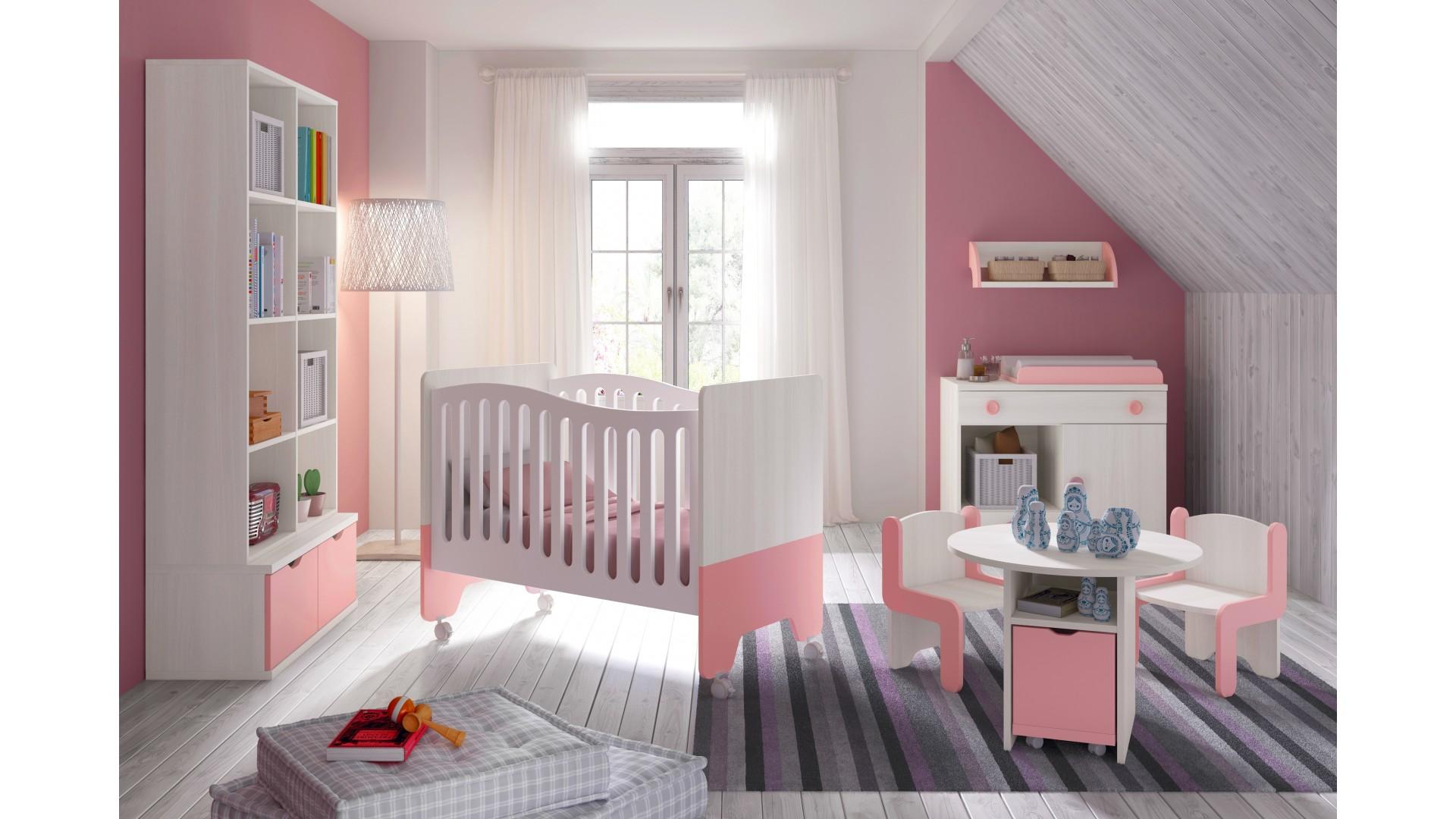 Chambre Bb Fille Avec Lit Bicouleur Blanc Et Rose