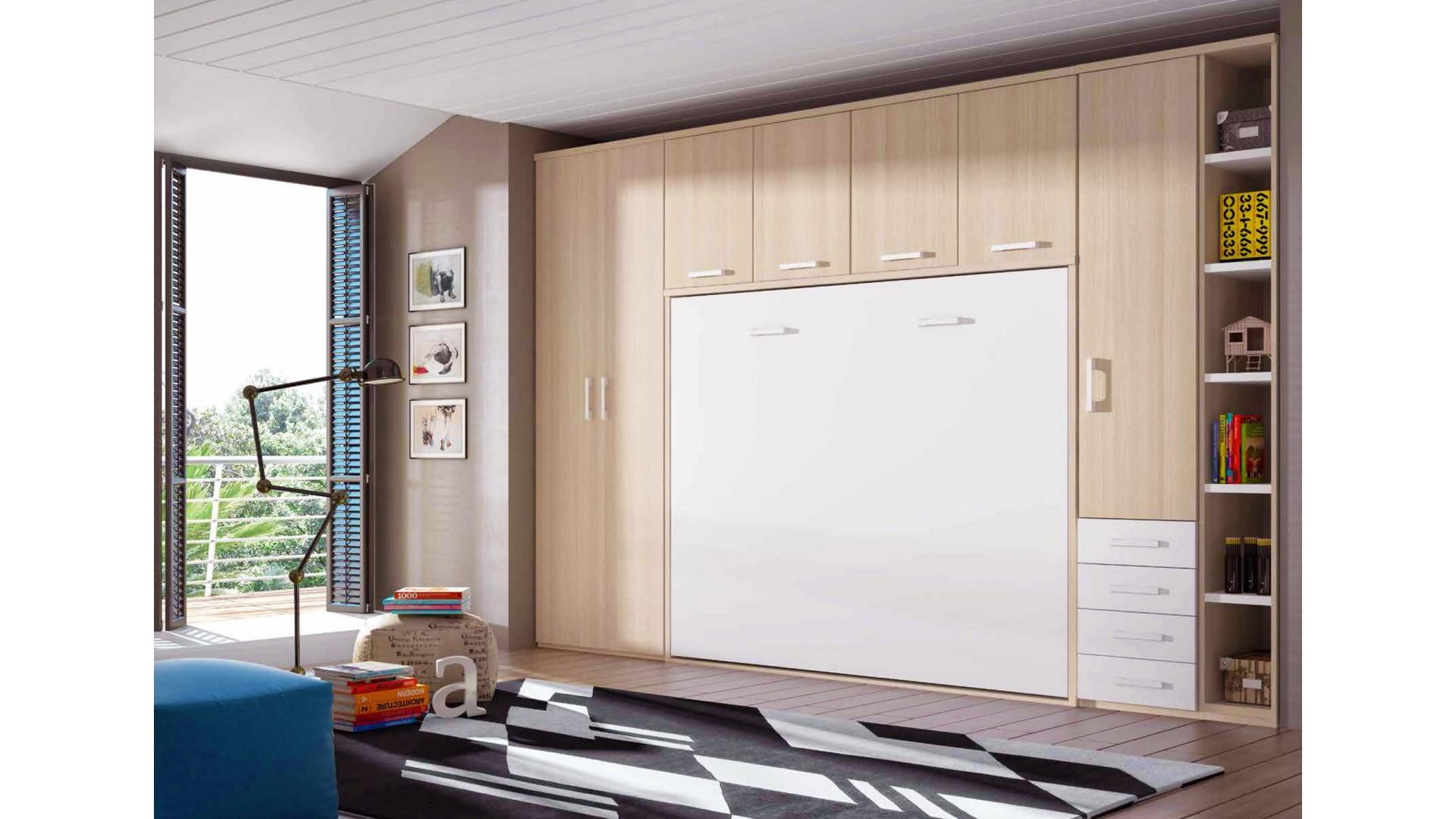 chambre avec lit armoire escamotable avec couchage 160 x 200 personnalisable f365 glicerio