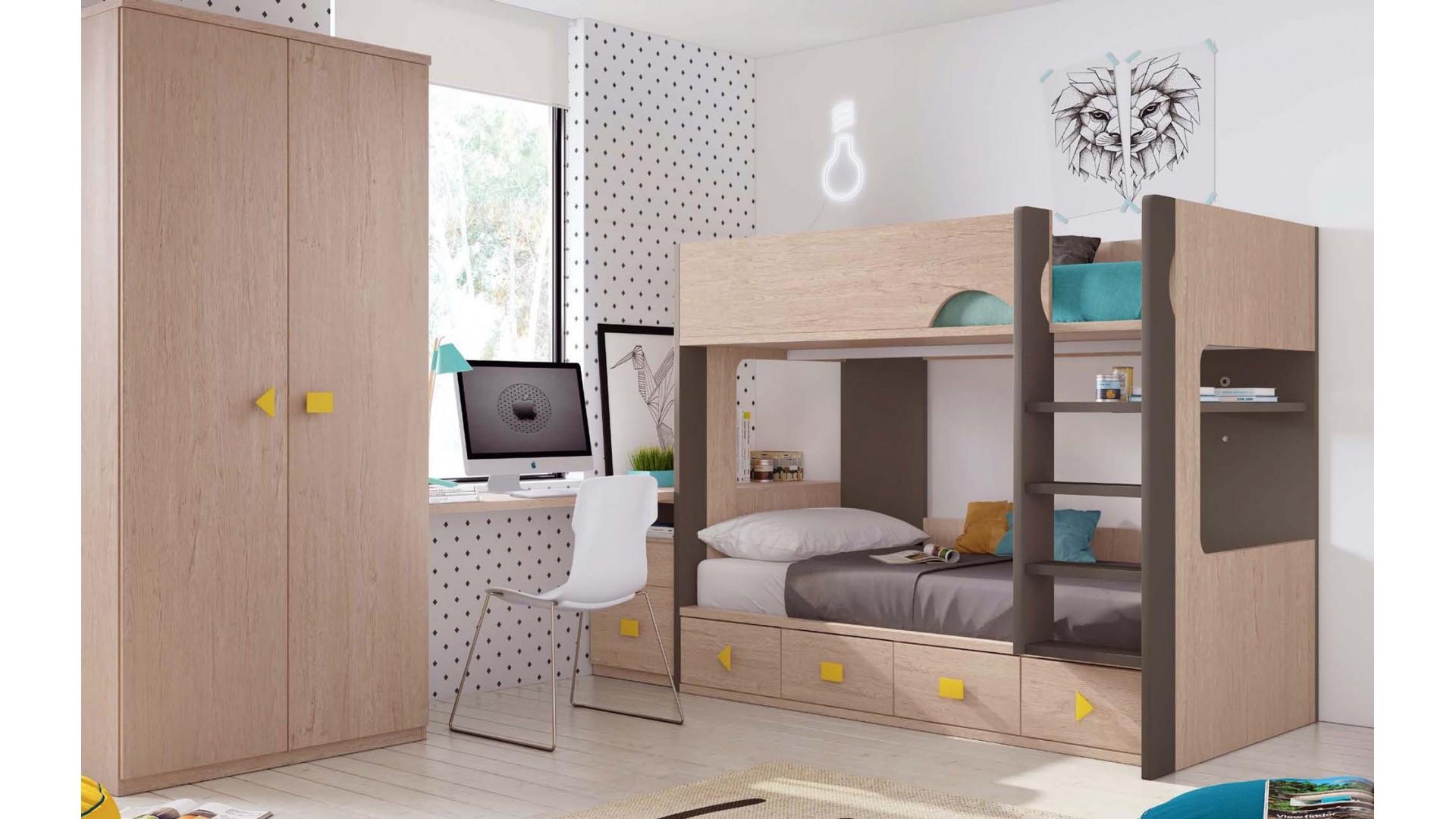 lit superpose fille avec armoire personnalisable f204 glicerio