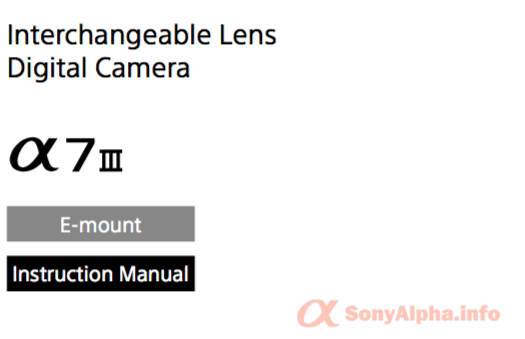 SonyAlphaInfo a7 iii user manual downlaod