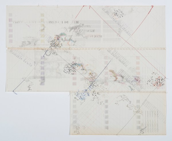 """Sonya Rapport, """"French Dinner"""", mid1976. Pencil, Prismacolor, ink stamp, solvent transfer and stitched and tied yarn with metallic threading on preprinted and prestamped found perforated continuous feed computer printout paper, 45"""" x 55.125""""."""