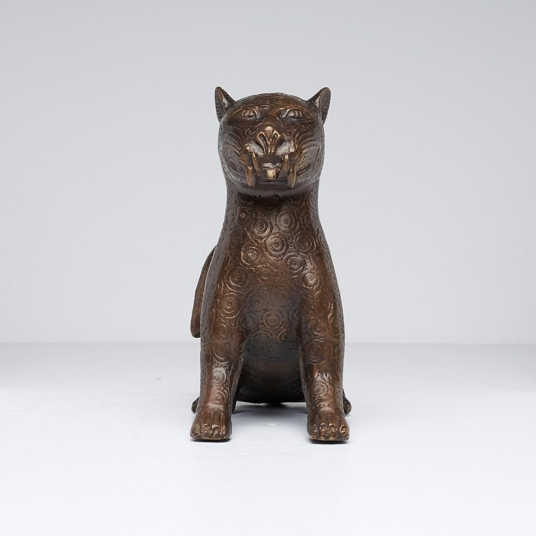 Bronze Sitting Benin Leopard Sculpture
