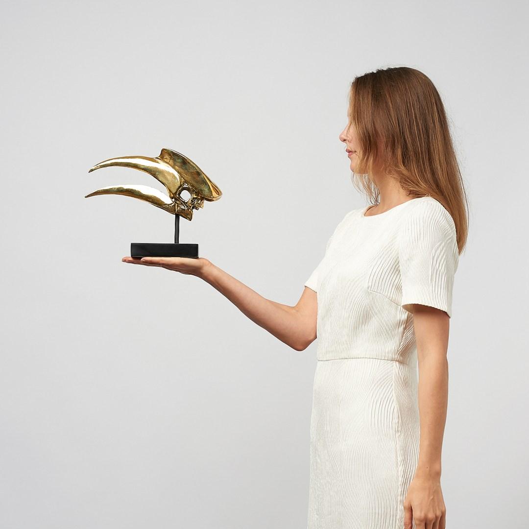 Great Hornbill Skull in polished bronze