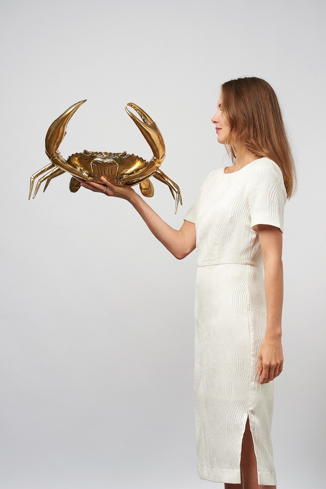 large crab in polished bronze