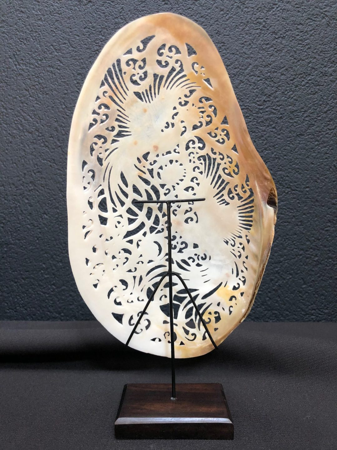 Carved Mother of Pearl Shell Birds of Paradise