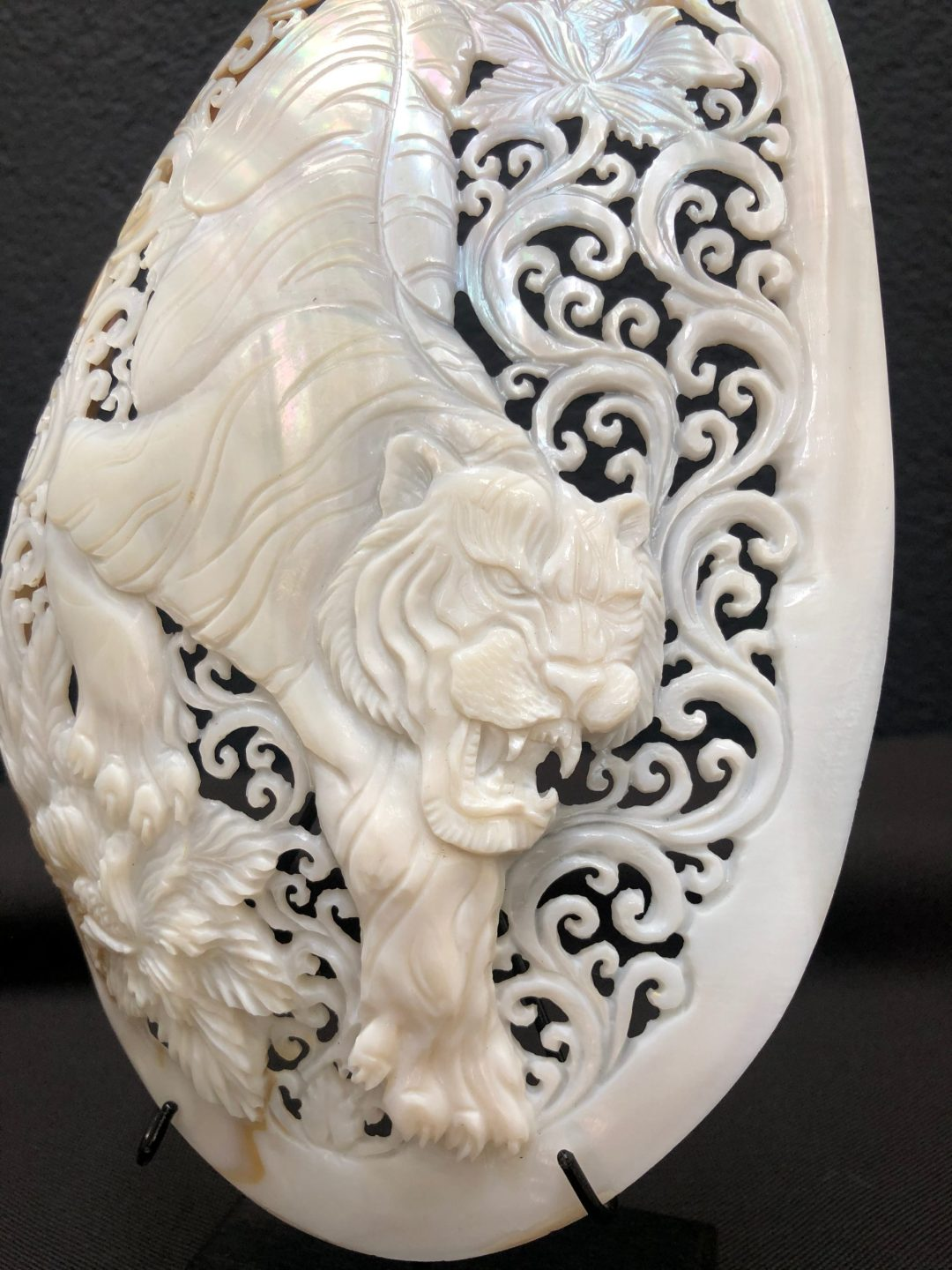 Carved Mother of Pearl Shell Tiger