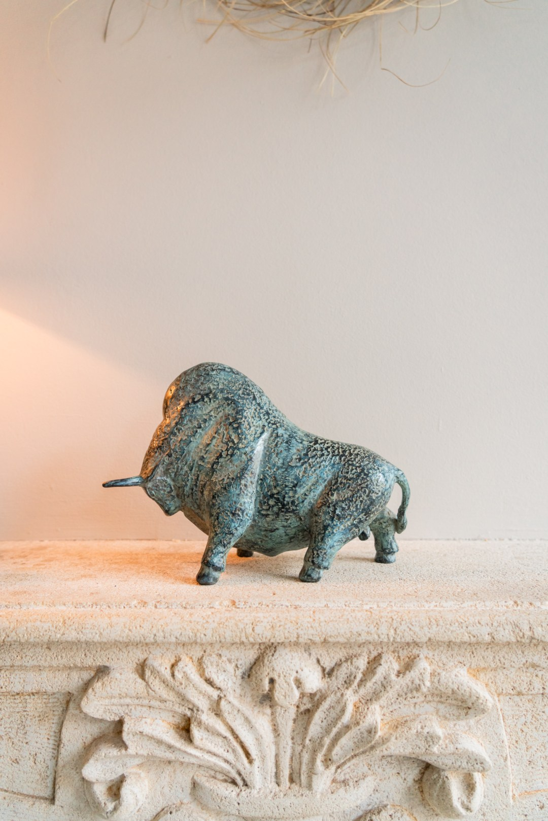 patinated charging american bison
