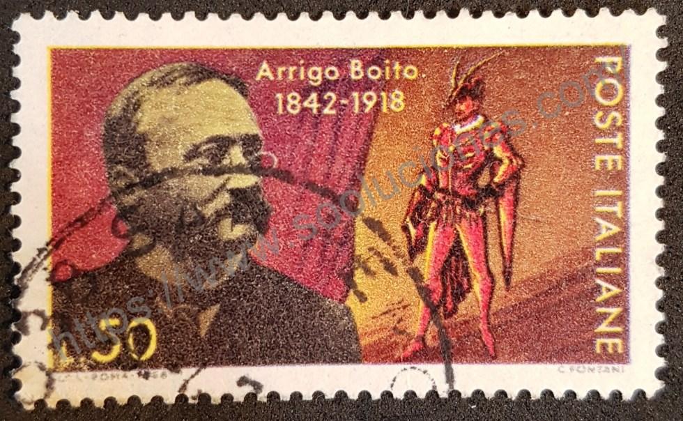 Sello Italia 1968 Arrigo Boito 50 aniversario fallecimiento. Poeta italiano creador de la ópera Mefistofele.