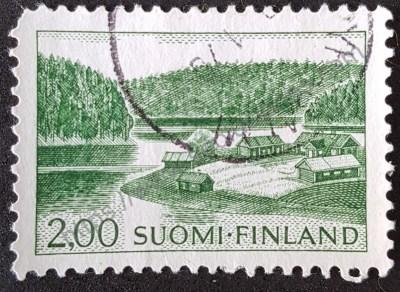Estampilla de Finlandia casa en el lago 1964