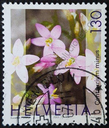 Centaurium minus Sello de Suiza año 2003 flores