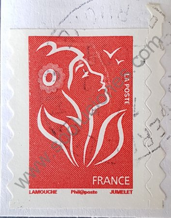 Sello Francia 2006 Marianne Lamouche sin valor color rojo facial color azul (copia)