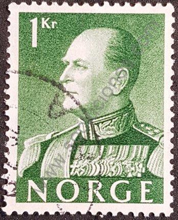Sello de Noruega año 1959 Rey Olaf V valor 1kr