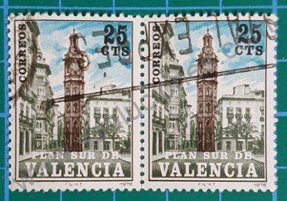 Sello España 1978 Plan Sur de Valencia Torre Santa Catalina  valor facial 25 Céntimos