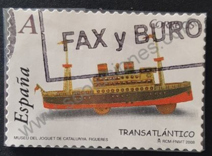 Sello España 2008 Transatlántico de juguete Valor facial «A»