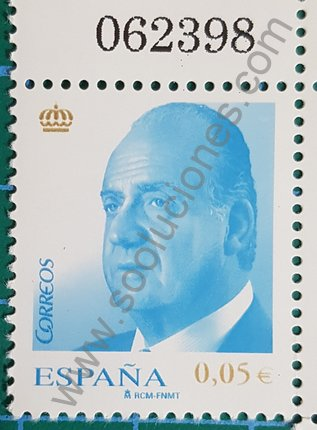 Sello España 2008 Rey Juan Carlos valor facial 0,05 € color Azul