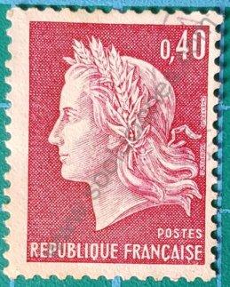Sello Marianne de Cheffer Francia 1969 valor 0,40