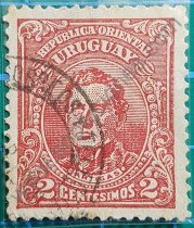 Sello Uruguay 1913 Artigas valor 2 Centésimo
