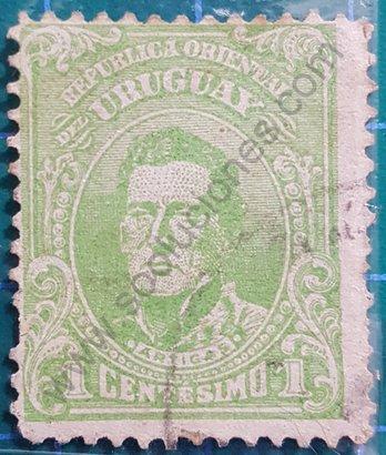 Sello 1913 Uruguay Artigas 1 centésimo