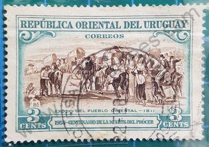 Sello Uruguay 1952 Éxodo del Pueblo Oriental