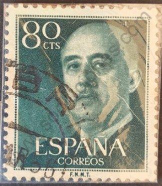 Sello España 1955 Francisco franco valor facial 80 cts – color verde