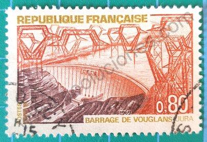 Sello Francia 1969 Presa de Vouglans
