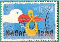 Sello Países Bajos 2002 Cigüeña y pañal