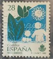 Sello con pájaro sol y siluetas 28 Pta España 1993