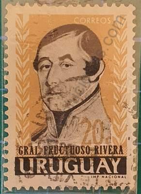General Fructuoso Rivera 20c - Sello Uruguay 1962