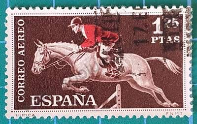 Sello con caballo y jinete saltando - España 1960