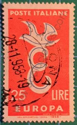 Paloma sobre letra E - Sello Italia 1958 C.E.P.T.