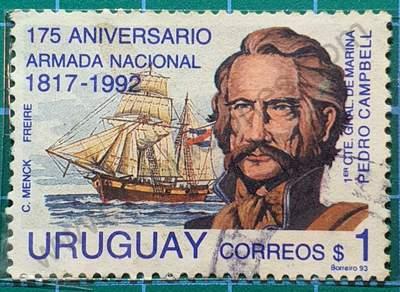Pedro Campbell y barco - Sello Uruguay 1993