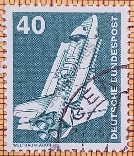 Estampilla con Laboratorio Espacial - Alemania año 1975