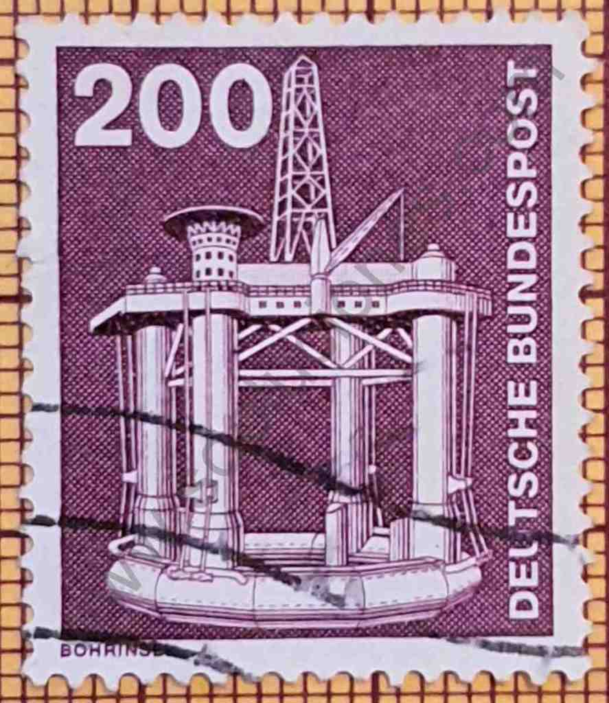 Plataforma de extracción de Petróleo - Sello de Alemania 1975