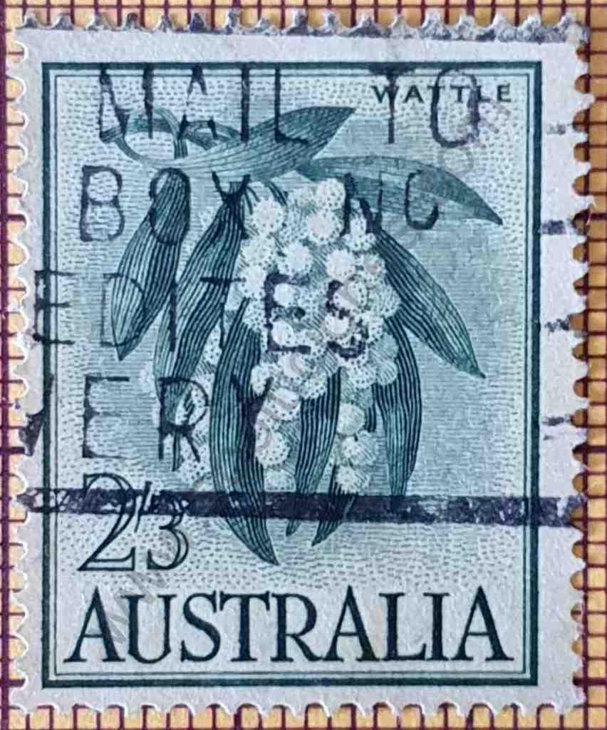 Flor de acacia negra - sello de Australia año 1959