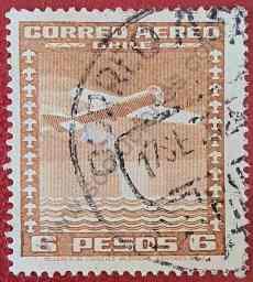Aeroplano y arco iris - Sello Chile 1935