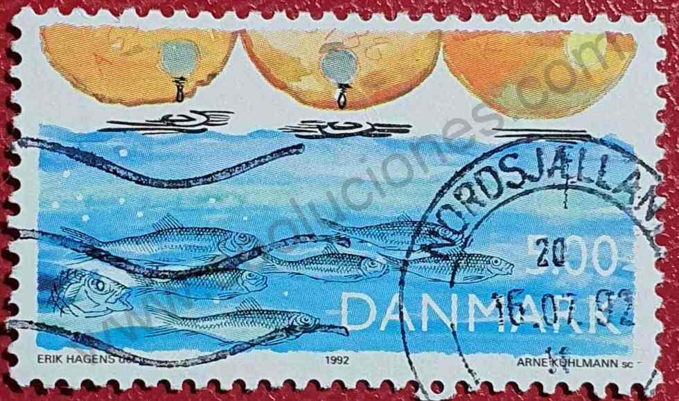 Arenques y Contaminación - sello de Dinamarca 1992