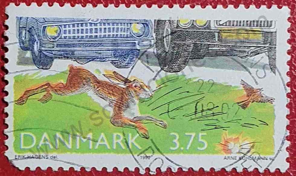Liebre - Alondra - Coches - Sello Dinamarca 1992