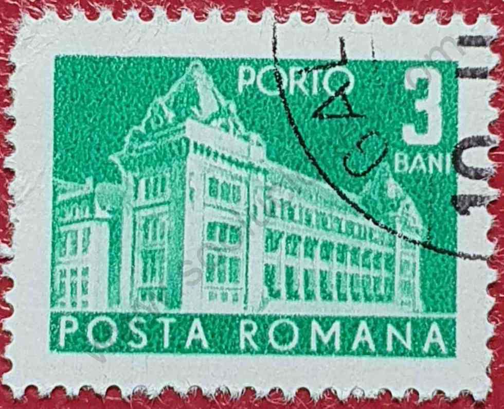 Sello Rumanía Edificio correos - 1970