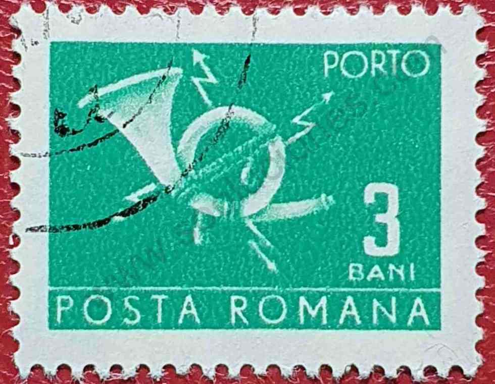 Sello Cuerno correos 3Ban - Rumania 1970