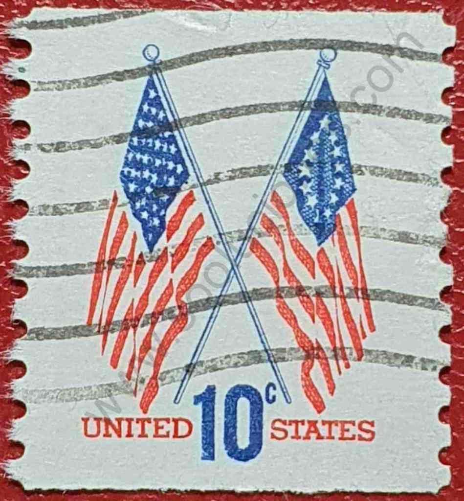 2 Banderas de Estados Unidos - Sello 1973