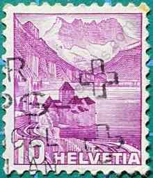 Castillo de Chillon - Sello Suiza 1936