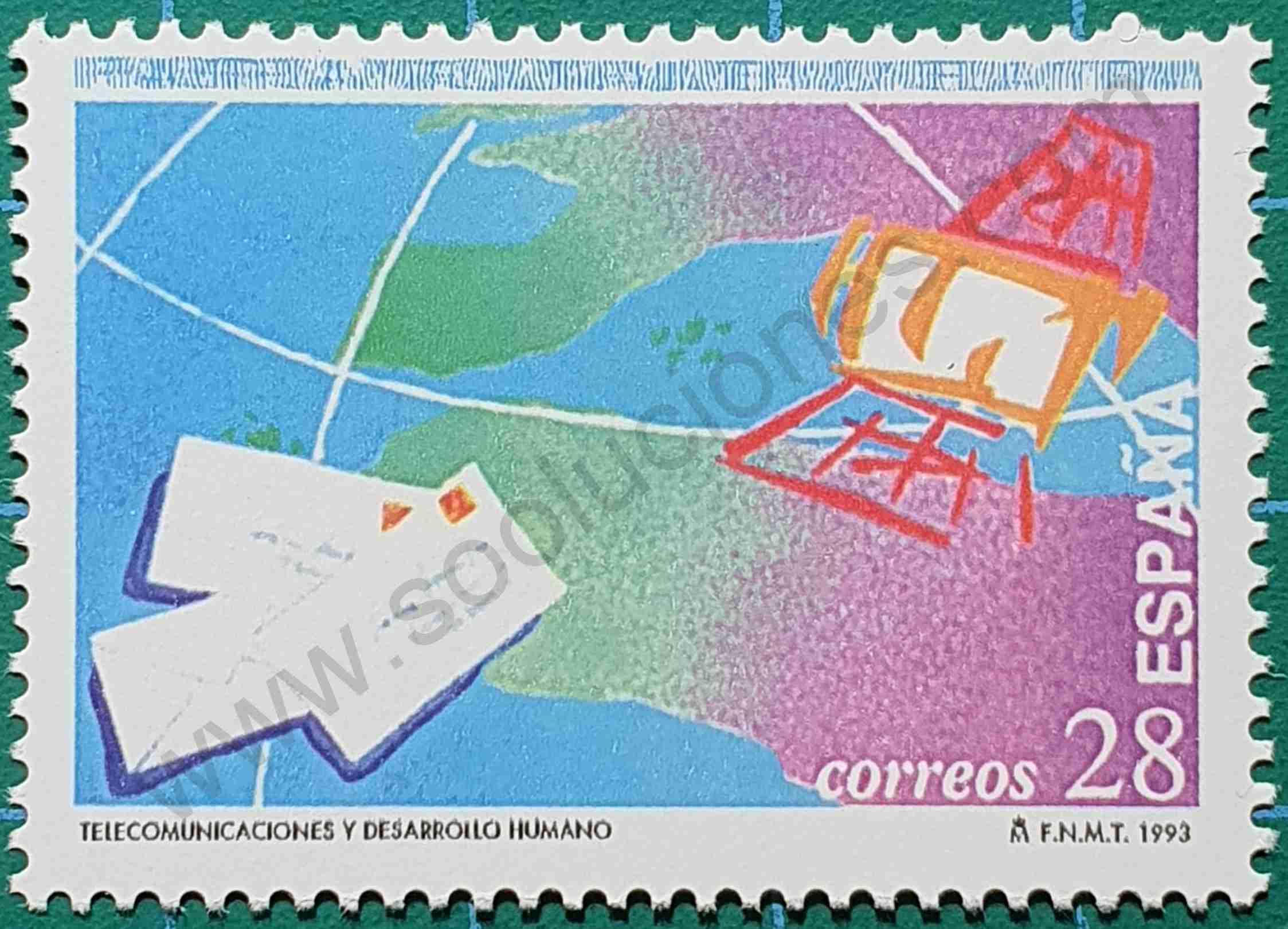 Sello España 1993 - Día mundial de las telecomunicaciones