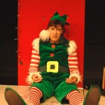 Kraig Swartz as Crumpet n THE SANTALAND DIARIES at New Rep. Photo: Christopher McKenzie.