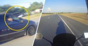 Ocupante de carro atira garrafa a motociclista. Mas a sua vingança foi...