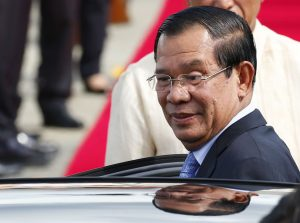 Cambodian Prime Minister Hun Sen arrives at Clark International Airport, north of Manila, Philippines Saturday, Nov. 11, 2017. Hun Sen is one of more than a dozen leaders who will be attending the 31st ASEAN Summit and Related Summits in Manila. (AP Photo/Bullit Marquez)