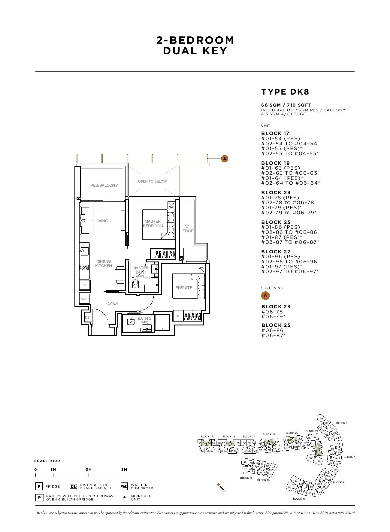 Sophia Hills 2 Bedroom Dual Key Type DK8 Floor Plans