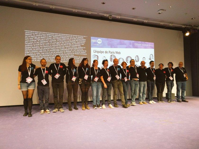 L'équipe de Paris-Web 2018 au complet