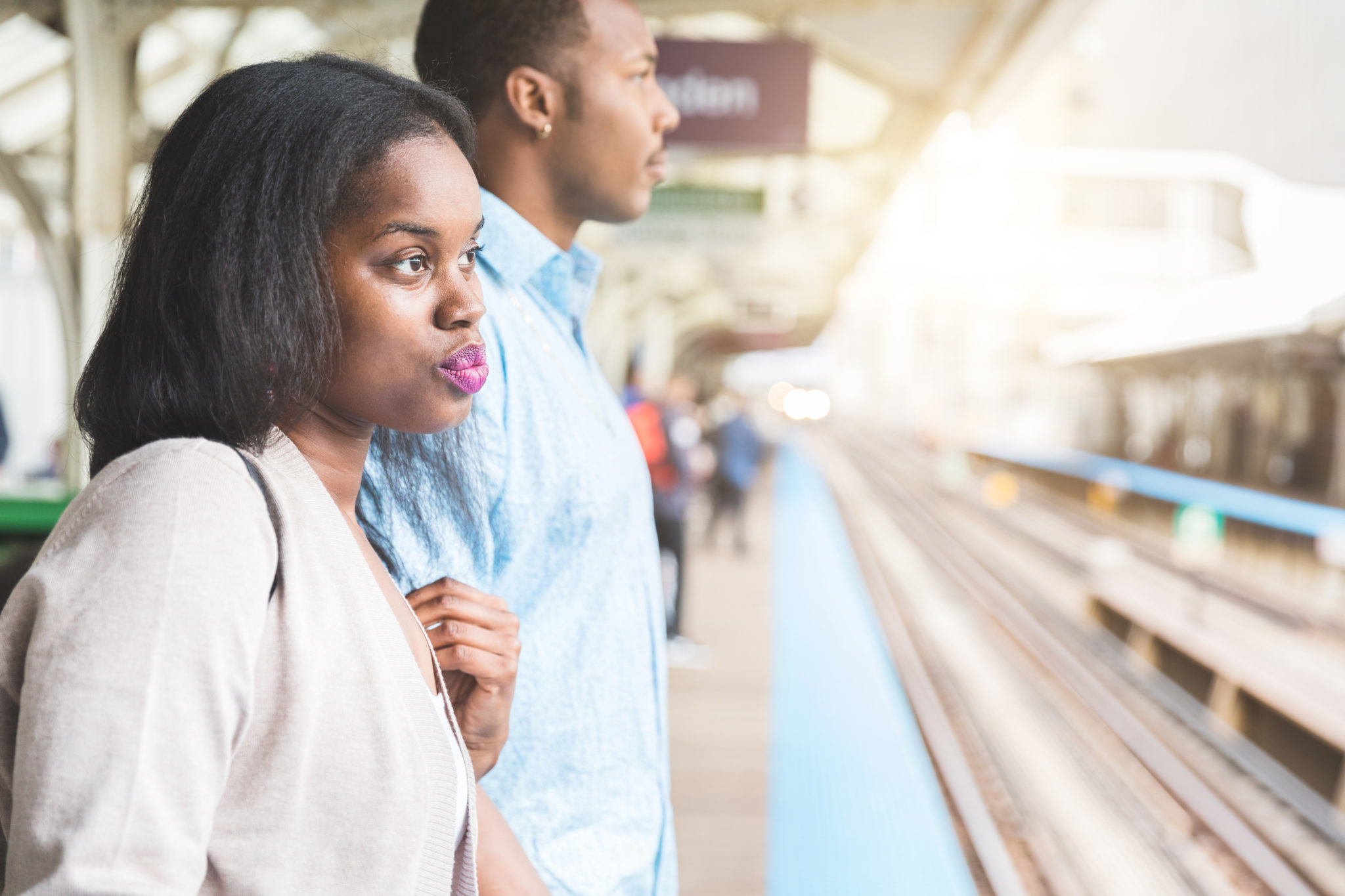 Black couple at subway station in Chicago