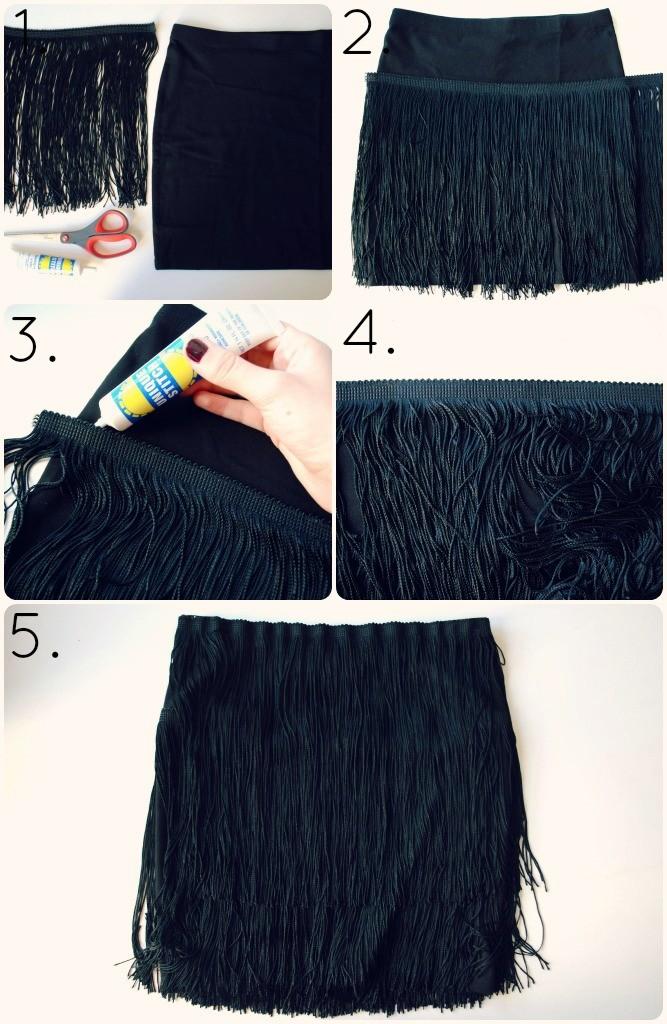 DIY clothes life hacks 15 DIY ideas #5 Fringe Skirt